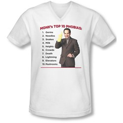 Monk - Mens Top 10 Phobias V-Neck T-Shirt
