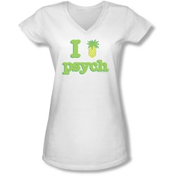 Psych - Juniors I Like Psych V-Neck T-Shirt