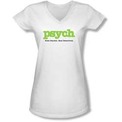 Psych - Juniors Title V-Neck T-Shirt