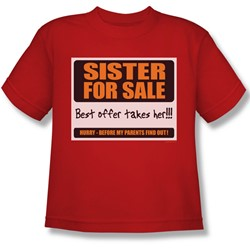 Sister For Sale - Big Boys T-Shirt In Red