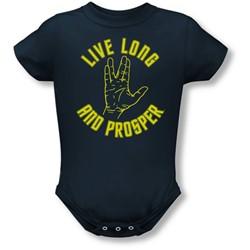 Star Trek - St / Live Long Hand Infant T-Shirt In Navy