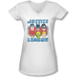 Dc - Juniors Faces Of Justice V-Neck T-Shirt