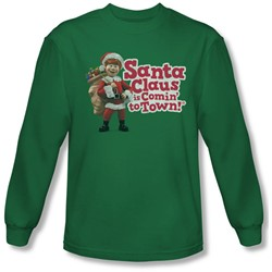 Santa Claus Is Comin To Town - Mens Santa Logo Longsleeve T-Shirt