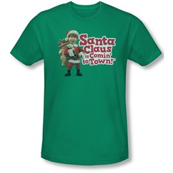 Santa Claus Is Comin To Town - Mens Santa Logo Slim Fit T-Shirt