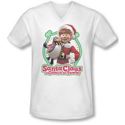 Santa Claus Is Comin To Town - Mens Penguin V-Neck T-Shirt