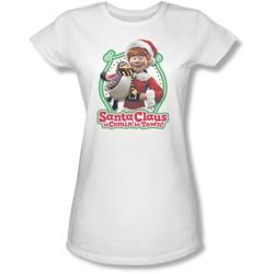 Santa Claus Is Comin To Town - Juniors Penguin Sheer T-Shirt