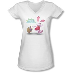 Here Comes Peter Cottontail - Juniors Hop Around V-Neck T-Shirt