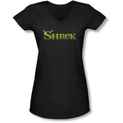 Shrek - Juniors Logo V-Neck T-Shirt
