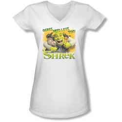 Shrek - Juniors Ogres Need Love V-Neck T-Shirt