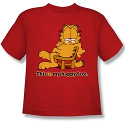 Garfield - Happy Face Big Boys T-Shirt In Red