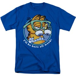 Garfield - Performing Adult T-Shirt In Royal Blue