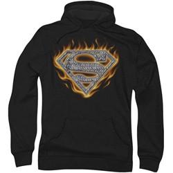 Superman - Mens Steel Fire Shield Hoodie