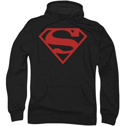 Superman - Mens Red On Black Shield Hoodie