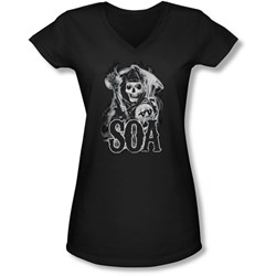 Sons Of Anarchy - Juniors Smoky Reaper V-Neck T-Shirt