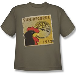 Sun Records - Rooster Poster 1952 Big Boys T-Shirt In Safari Green