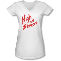 Revenge Of The Nerds - Juniors High On Stress V-Neck T-Shirt