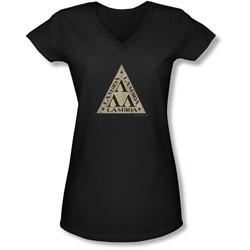 Revenge Of The Nerds - Juniors Tri Lambda Logo V-Neck T-Shirt