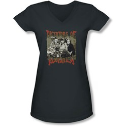 Three Stooges - Juniors Moronica V-Neck T-Shirt