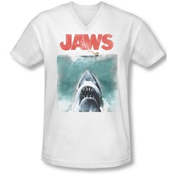 Jaws - Mens Vintage Poster V-Neck T-Shirt