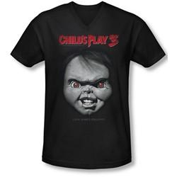 Childs Play 3 - Mens Face Poster V-Neck T-Shirt
