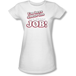 Funny Tees - Juniors Here About Job Sheer T-Shirt