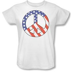 Funny Tees - Womens Patriot Peace T-Shirt