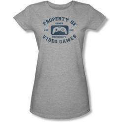 Funny Tees - Juniors Gamer University Sheer T-Shirt