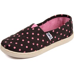 Toms - Youth Slip-On Shoes In Black Pink Small Dot