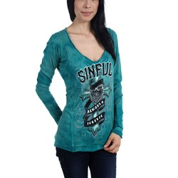 Sinful - Womens Eloise Raw Edge Long Sleeve Shirt