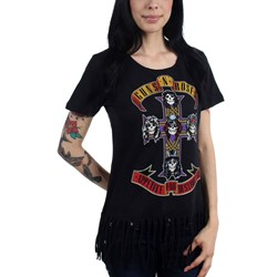 Guns N Roses - Womens Cross Fringe Crop Top