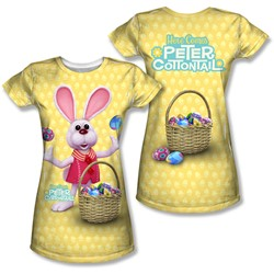 Here Comes Peter Cottontail - Juniors Basket Of Eggs (Front/Back Print) T-Shirt