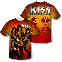 Kiss - Mens Fire Pose (Front/Back Print) T-Shirt
