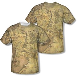 Lord Of The Rings - Mens Middle Earth Map (Front/Back Print) T-Shirt
