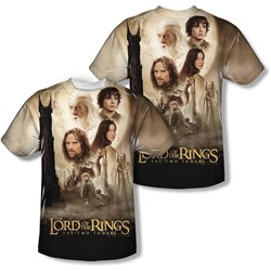 Lord Of The Rings - Mens Towers Poster (Front/Back Print) T-Shirt