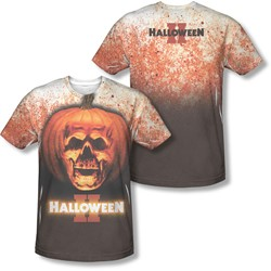 Halloween Ii - Mens Pumpkin Skull (Front/Back Print) T-Shirt
