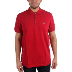Lacoste - Mens Cotton Pique Ottoman Textured Tonal Stripe Polo