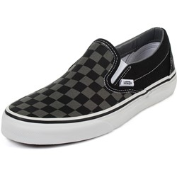 vans black and grey slip ons