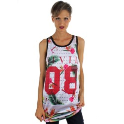Civil - Womens Floral Mesh Drop BBall Tank Top