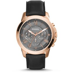 Fossil Grant Chronograph Black Leather Watch - FS5085