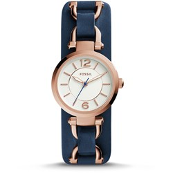 Fossil Georgia Artisan Navy Leather Watch - ES3857