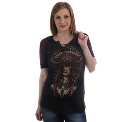 Affliction - Womens Gentle Wind 1/2 Sleeve Tie Scoop Top