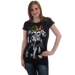 Bob Marley - One Love Stripes Womens T-Shirt in Black