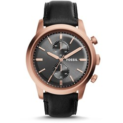 Fossil Watch - Townsman Chronograph Black Leather Watch FS5097