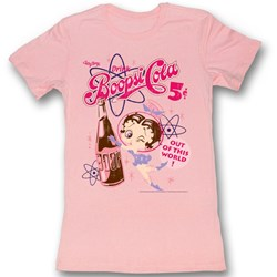 Betty Boop - Womens Boopsi Cola T-Shirt In Pink Bf Tee