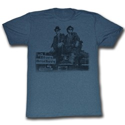 Blues Brothers - Mens Blues Vintage T-Shirt In Navy Heather