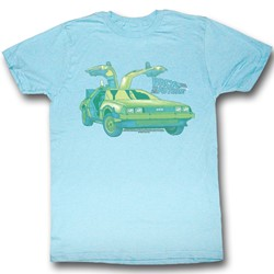 Back To The Future - Mens Delorean Chillin T-Shirt In Neon Blue Heather