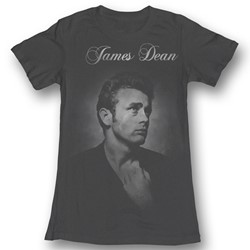 James Dean - Womens Again T-Shirt In Charcoal Bf Tee