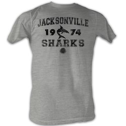 World Football League - Mens Sharks!!!! T-Shirt In Grey Heather