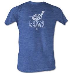 World Football League - Mens Wheels White T-Shirt In Sea Blue Heather