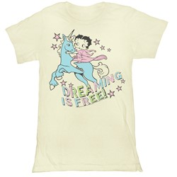 Betty Boop - Womens Dreaming Is Free T-Shirt in Vintage White